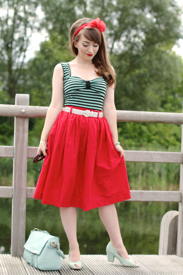 50s inspired summer outfit with red swing skirt and mint green accents