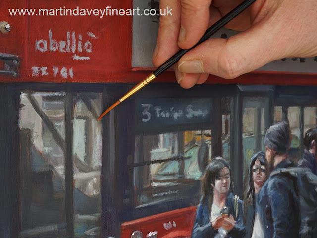 bus queue oil art M P Davey close up