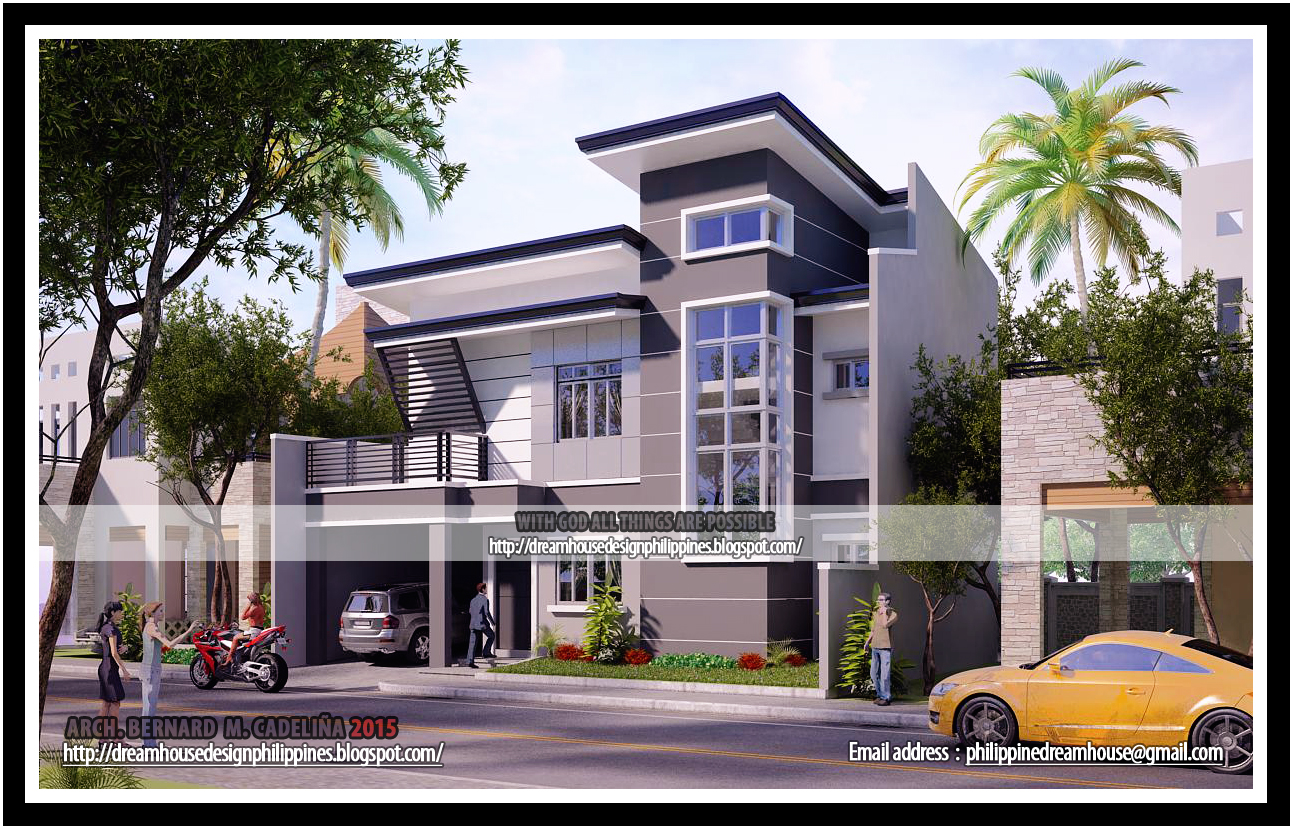 Two storey modern contemporary house right side view