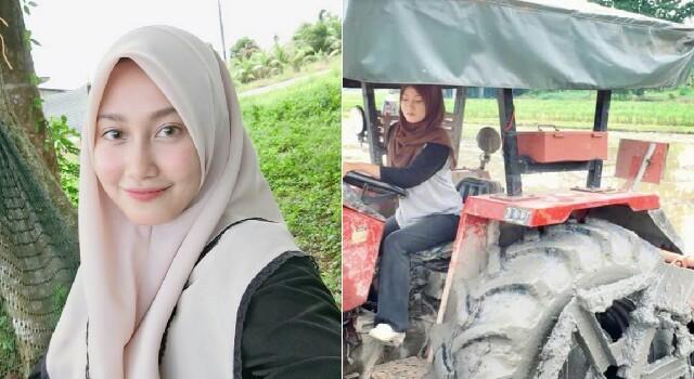 Wanita Cantik Bajak Sawah Pakai Traktor
