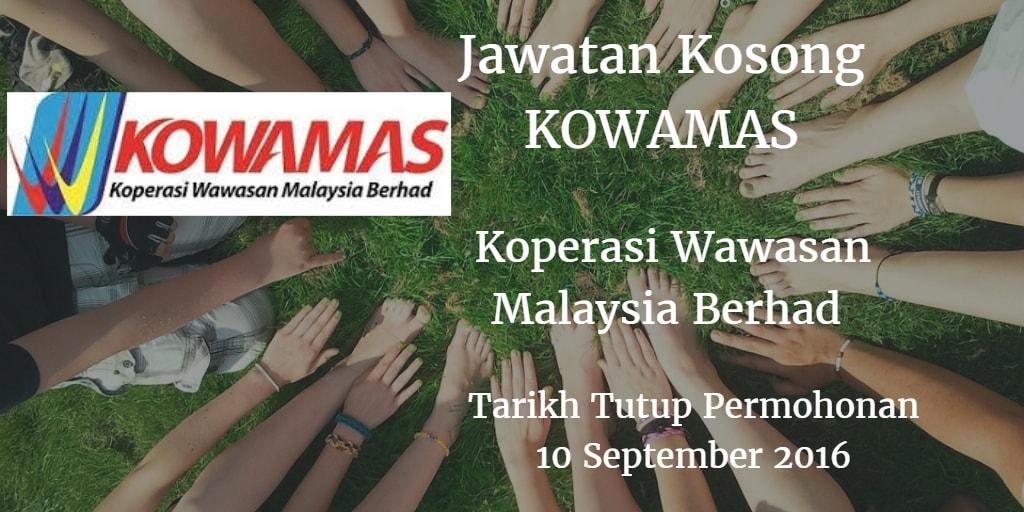 Jawatan Kosong KOWAMAS 10 September 2016