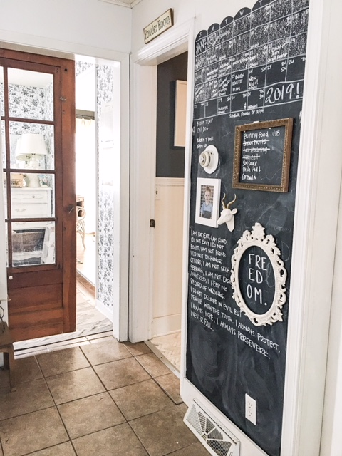 chalkboard on wall in kitchen