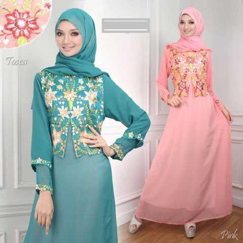 Model Baju Gamis Sifon Kembang Kombinasi Renda Fashion Tren