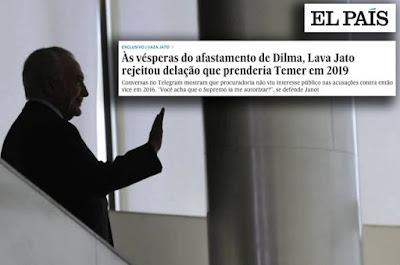 Temer com manchete do El País sobre Vaza Jato