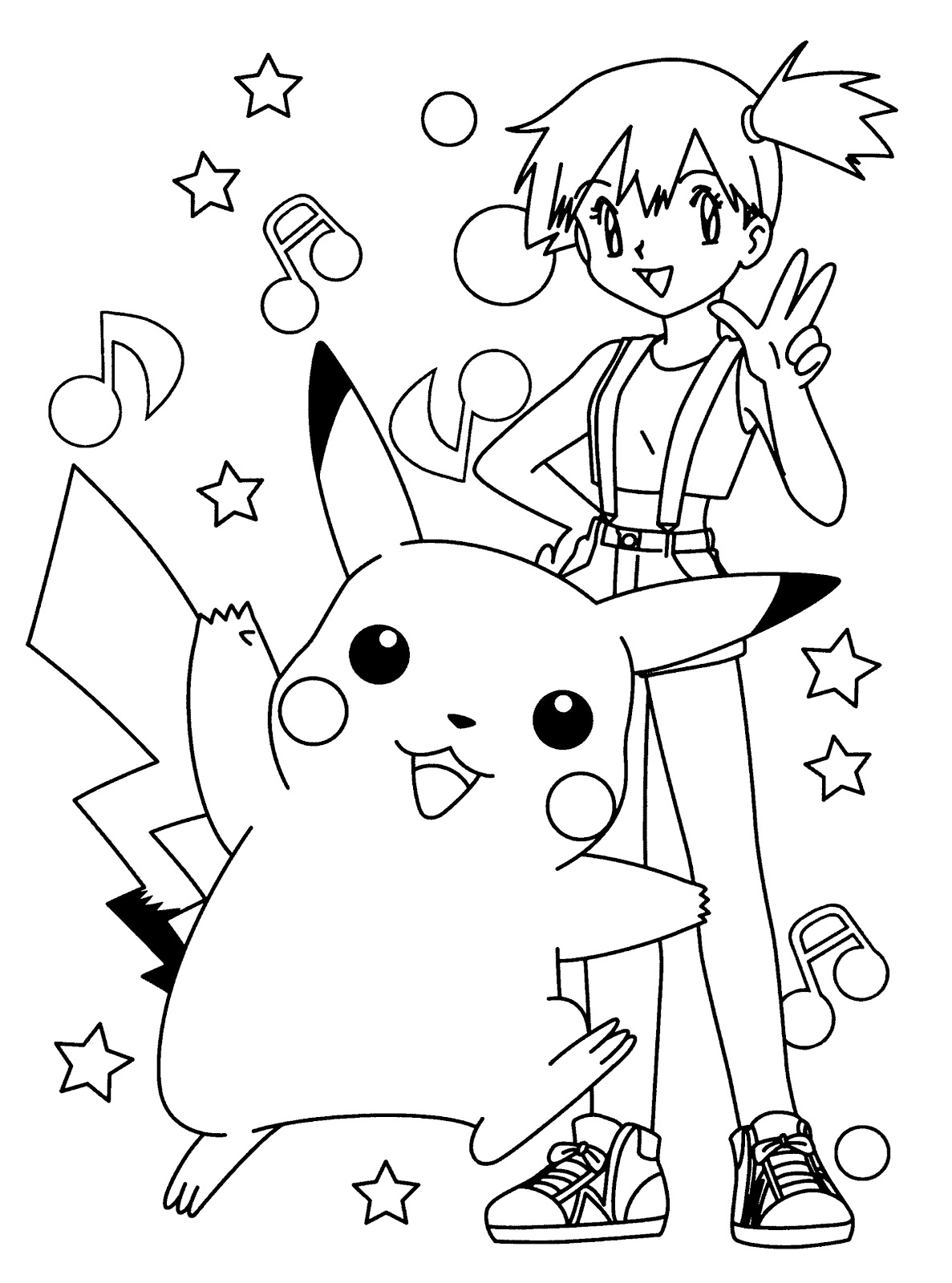 printable pokemon pikachu and misty coloring pages easy free download