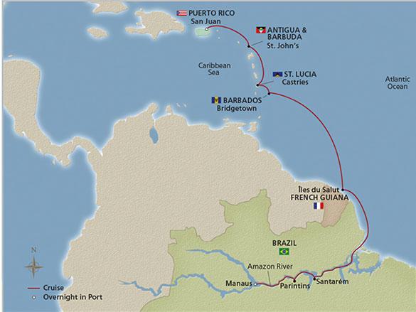 Cruise itinerary between Manaus and the Amazon and San Juan (Source: Viking Cruises)