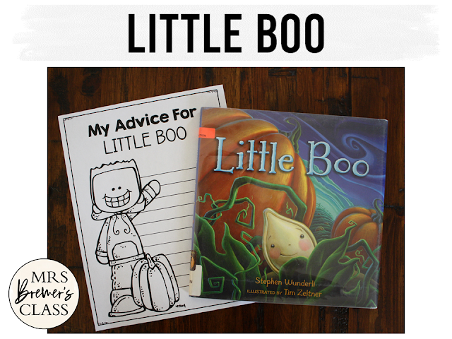 Little Boo book study unit with Common Core literacy companion activities for Halloween and fall in Kindergarten and First Grade