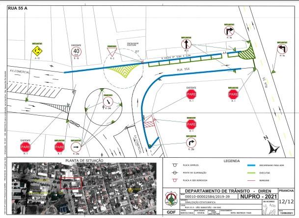 Detran-DF implanta sentido único na Rua 55 de São Sebastião