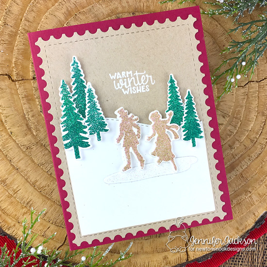 Newton's Nook Designs & WOW Embossing Powders Inspiration Week - Sparkly Winter Ice Skating card by Jennifer Jackson | Winter Memories Stamp Set, Land Borders and Framework Die Sets by Newton's Nook Designs with embossing powder by WOW! #newtonsnook #wowembossing