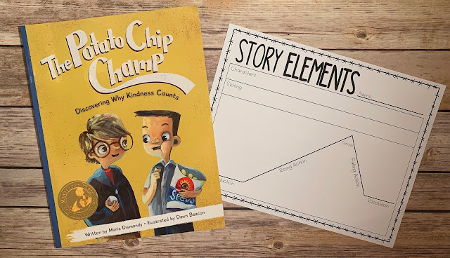 "Mentor Text with text ""The Potato Chip Champ"" and Graphic Organizer with text ""Story Elements"""