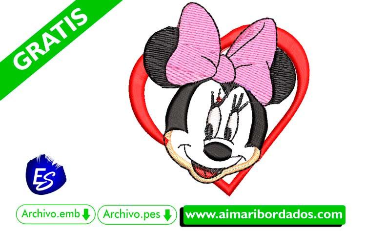 Minnie Mouse con corazón para bordar a máquina DESCARGA GRATIS