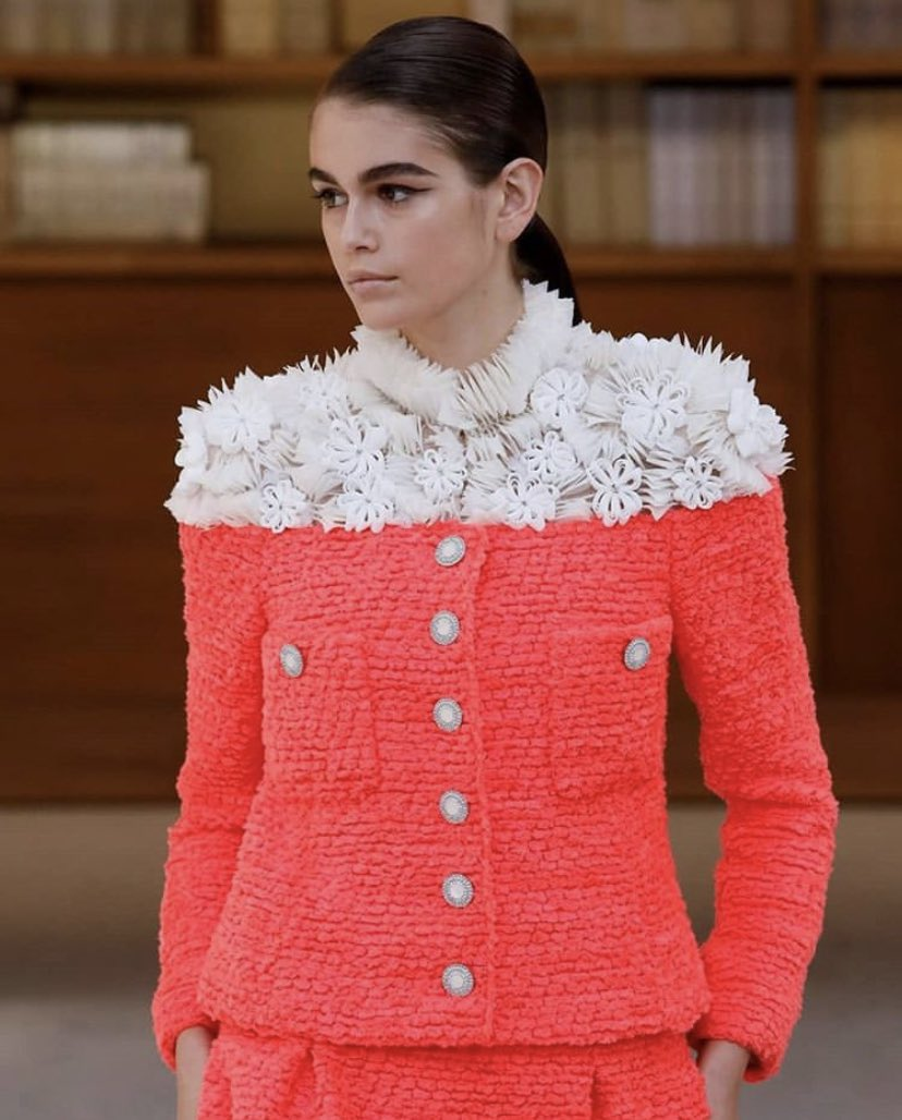 Kaia Gerber walking for Chanel Haute Couture FW19
