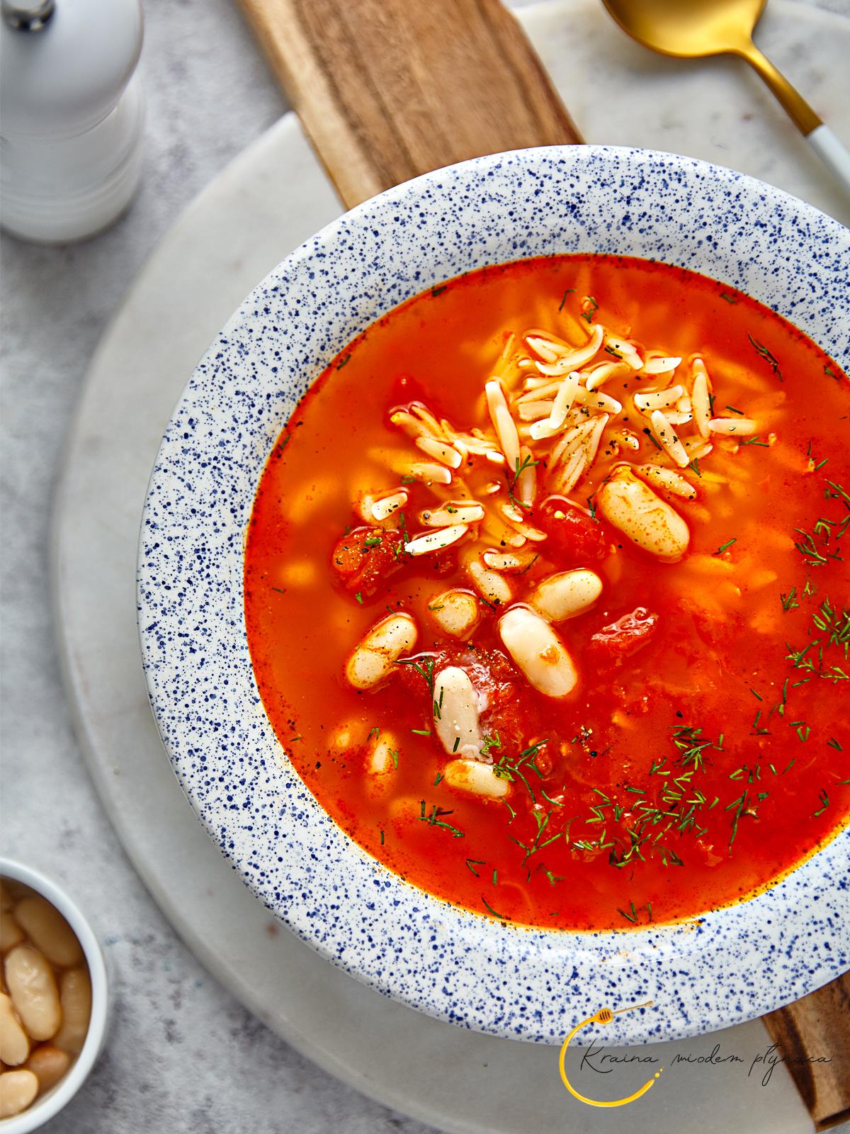zupa pomidorowa ze świeżych pomidorów, zupa ze świeżymi pomidorami, pomidorówka z pomidorów, kraina miodem płynąca, fotografia kulinarna szczecin, pomidorowa z fasolą