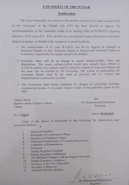"""Punjab University Notification Regarding BA/B.Sc and B.com Two Years Degree Programs-09 August 2019""Pu notification""Two Years Degree Program Extended"""