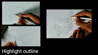3d words drawing, drawing of ABC, easy to draw, drawing for kids, words drawing , Art of Rohit