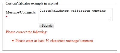 CustomValidator vaidation control example in asp.net
