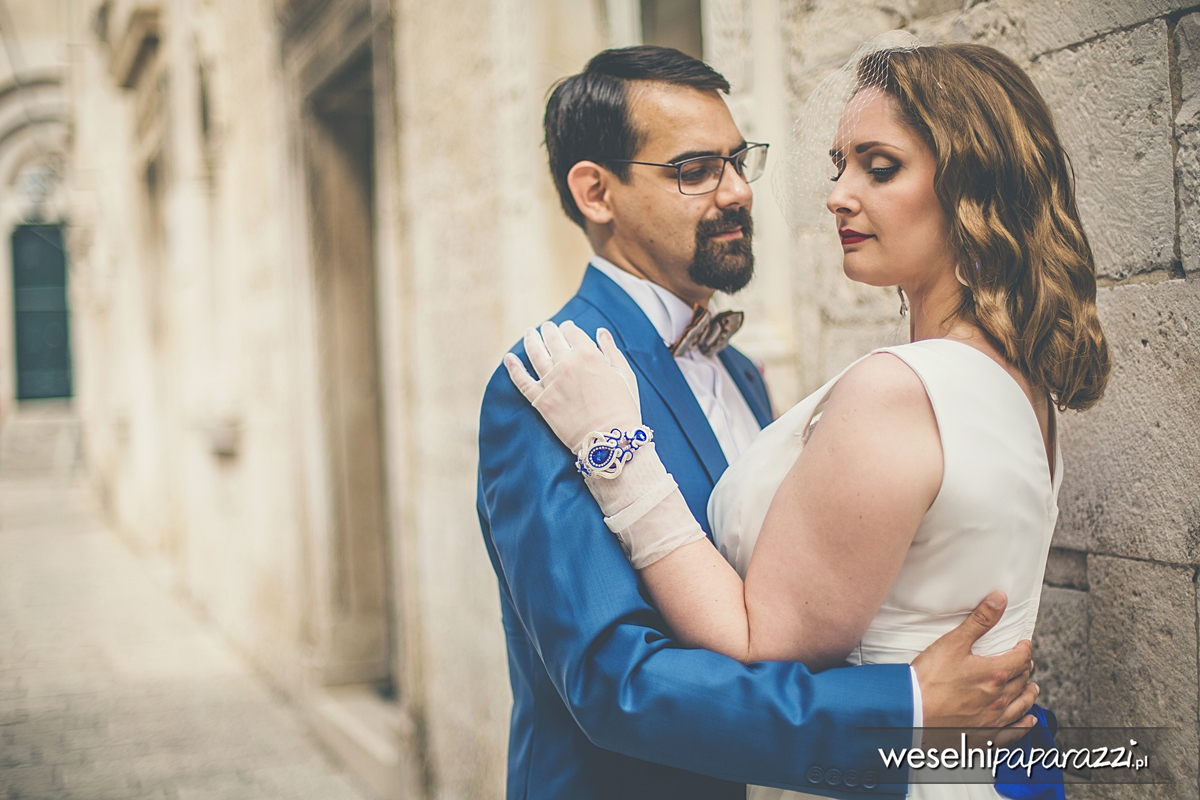 Kobaltowa bransoletka ślubna sutasz
