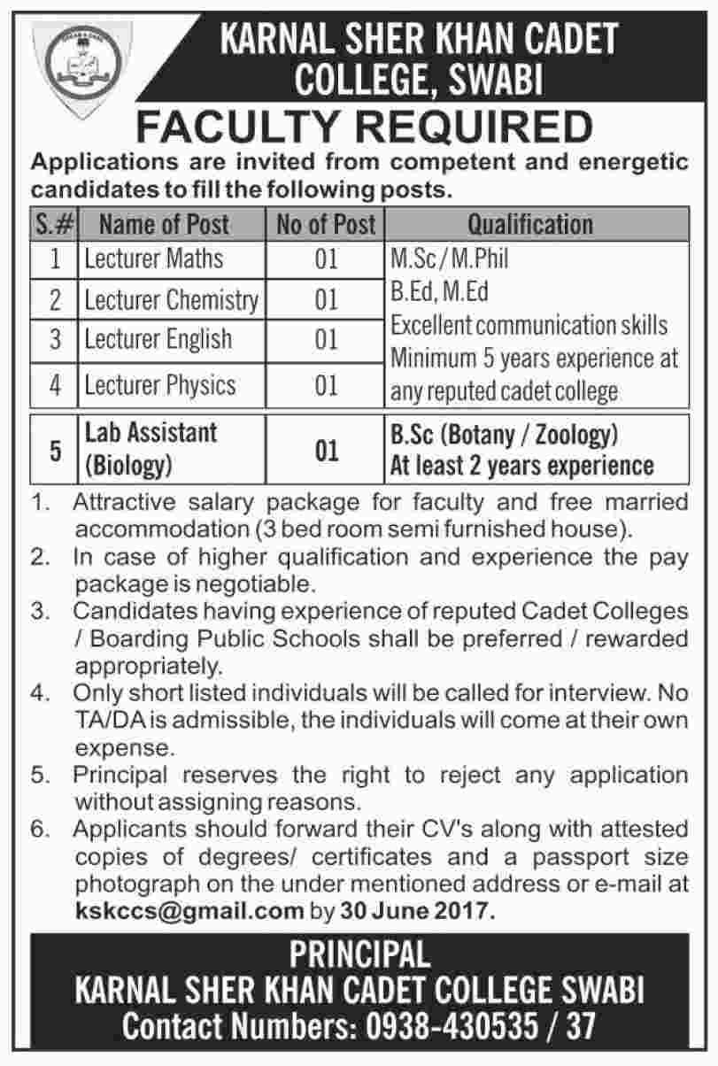 Faculty Jobs Karnal Sher Khan Cadet College Swabi  5 June 2017