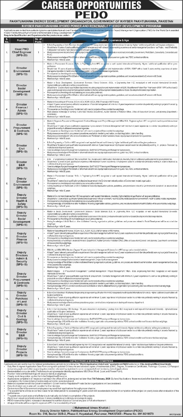 Latest PEDO Pakhtunkhwa Energy Development Organization Jobs 2020