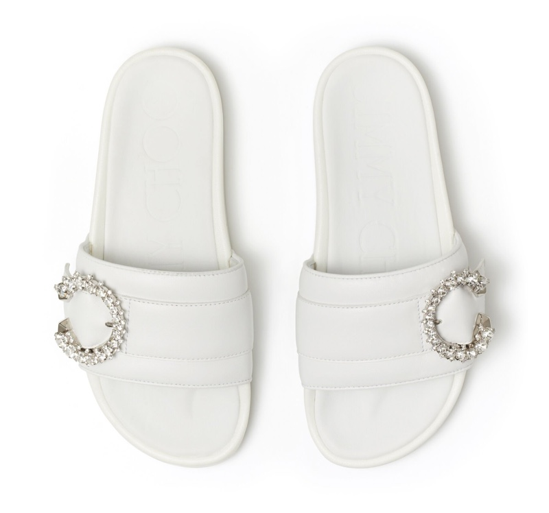 Jimmy Choo Fallon White Leather Slides with Crystal Buckle