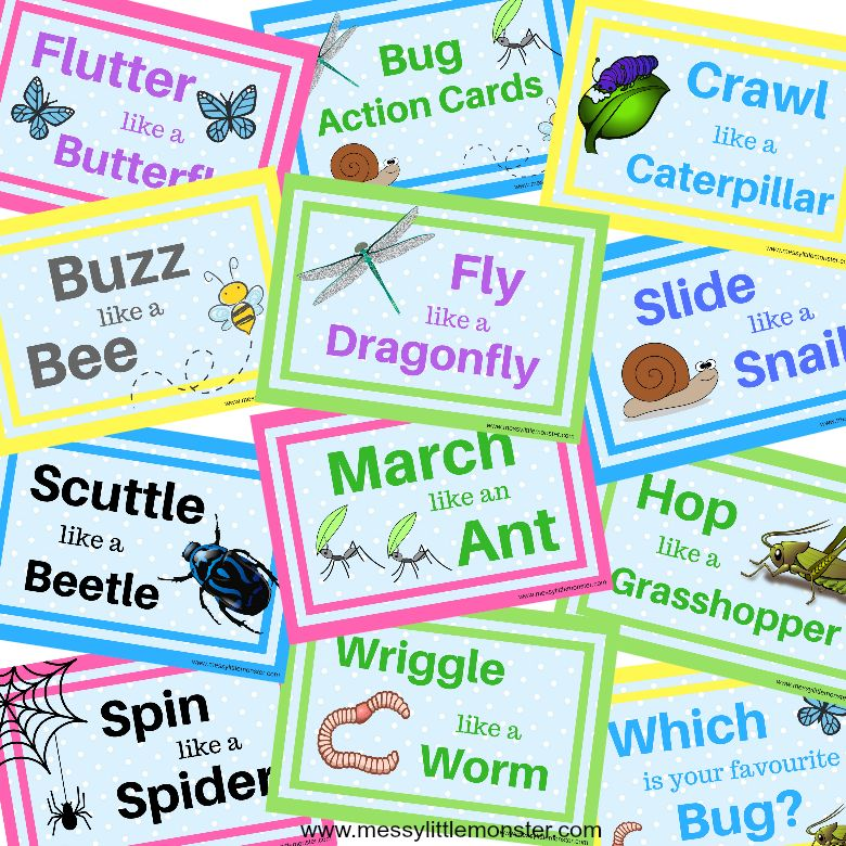 Bug action cards - spring activity for kids