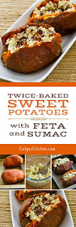 Twice-Baked Sweet Potatoes Recipe with Feta and Sumac found on KalynsKitchen.com