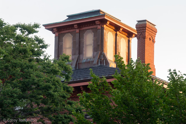 Portland, Maine September 2021 photo by Corey Templeton. Three cupolas atop buildings on State Street.