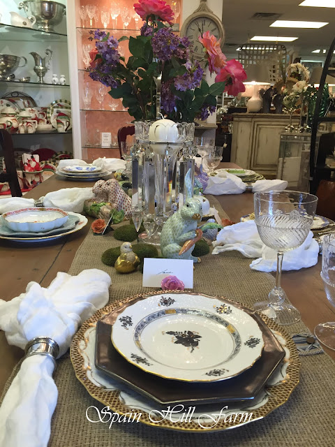 beautiful easter tablescape with herend china and juliska dishes