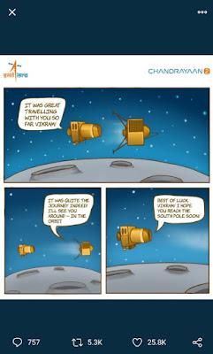 ISRO shared this cartoon ahead of Vikram Lander landing on Moon