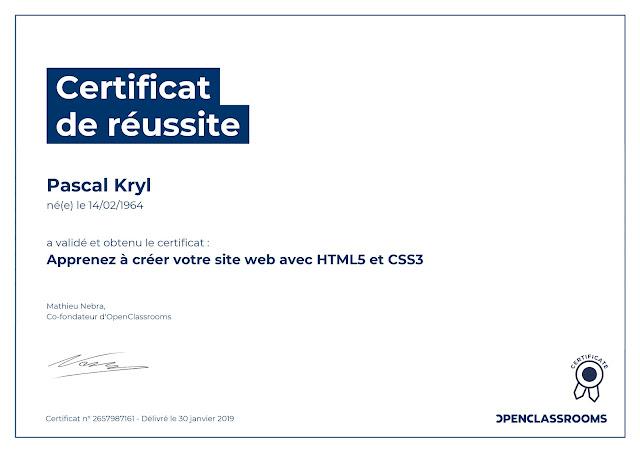 certificat OpenClassrooms
