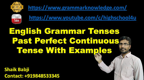 English Grammar Tenses Past Perfect Continuous Tense With Examples