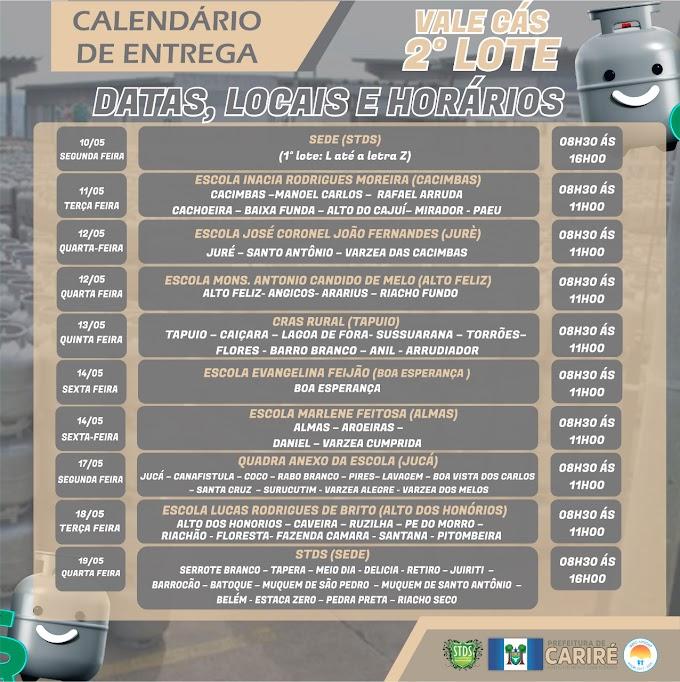 Calendário das entregas do Vale Gás Social de Cariré; confira aqui, a lista dos beneficiários (2º Lote)