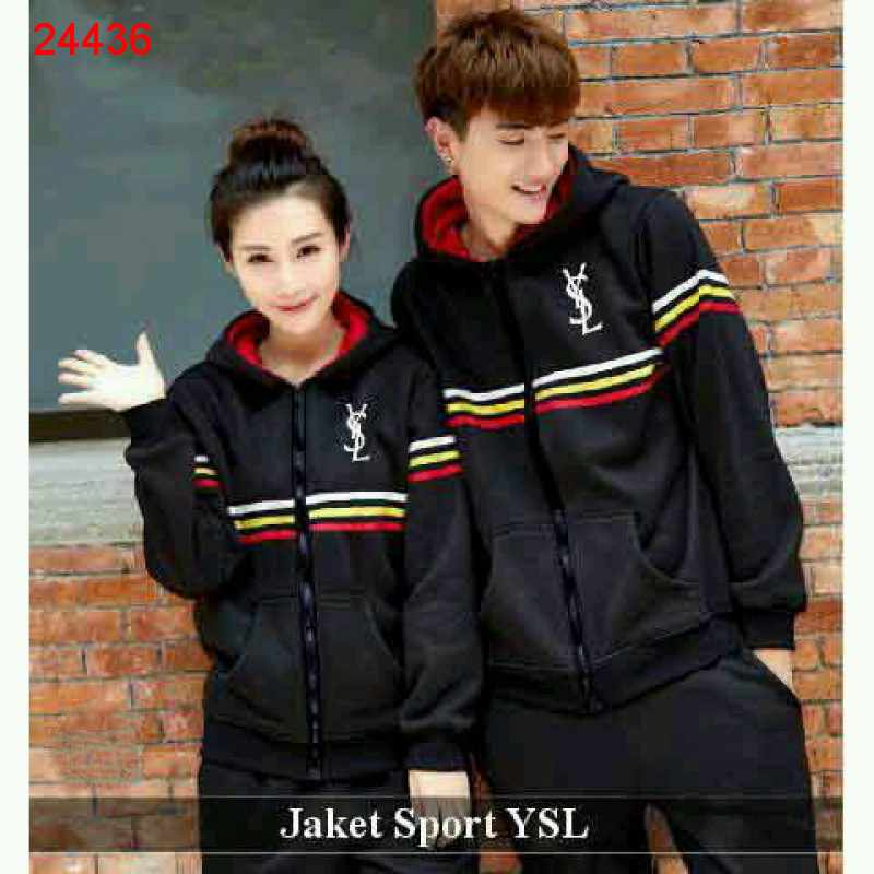 Jual Jacket Couple Jacket Sport YSL Hitam - 24436