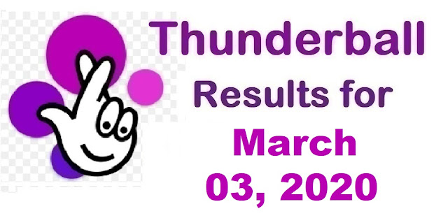 Thunderball Results for Tuesday, March 03, 2020