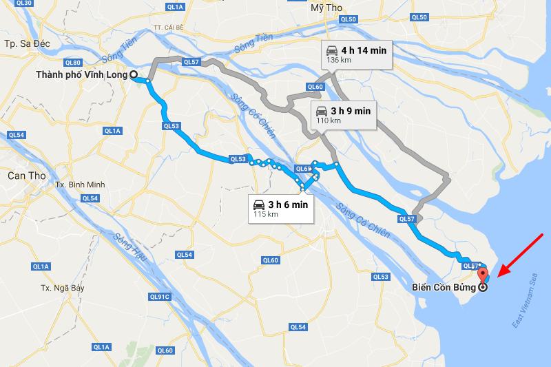Từ Vĩnh Long đến Cồn Bửng 110km