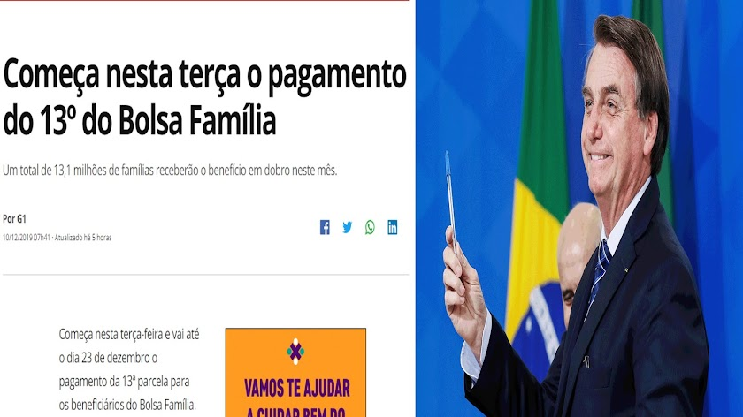 BOLSA FAMÍLIA EM DOBRO: Bolsonaro cumpre promessa de pagar 13º da BF e Globo é obrigada a divulgar a verdade