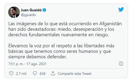 Juan Guaidó muy preocupado con los derechos humanos de Afganistán