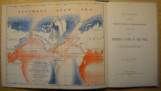 """A fold-out map in black, red, blue, attached to the title page for the """"Address."""""""