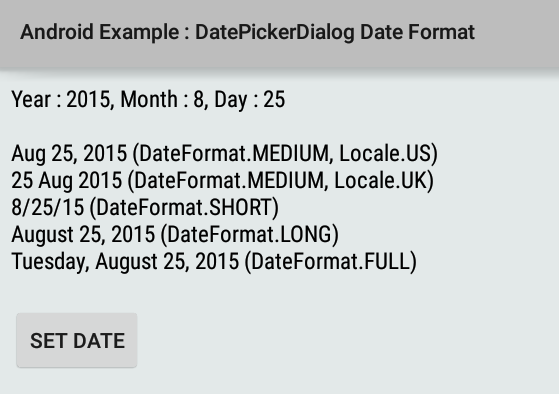 How to format datepickerdialog selected date in android longn format the date using style full dateformat dffull dateformattdateinstancedateformat publicscrutiny Gallery