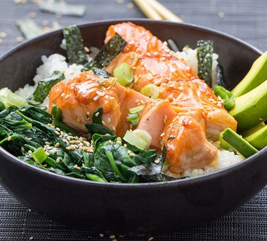 TERIYAKI SALMON RICE BOWL WITH SPINACH AND AVOCADO #dinner #lunch