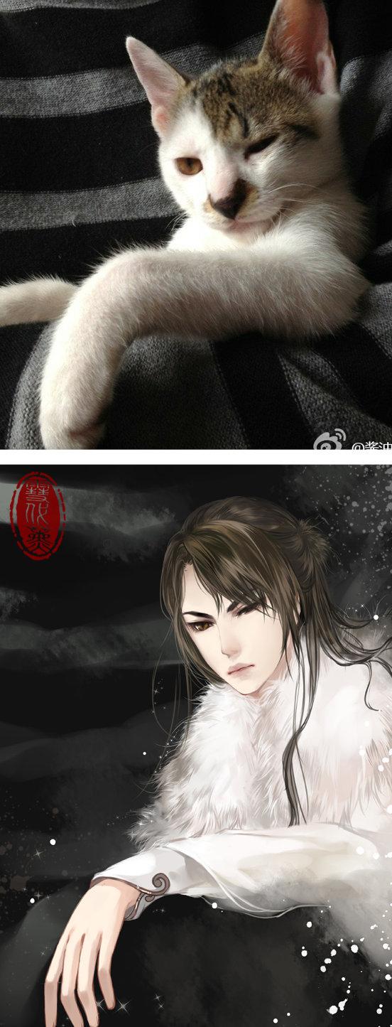 Kot narysowany jako kobieta z anime 03