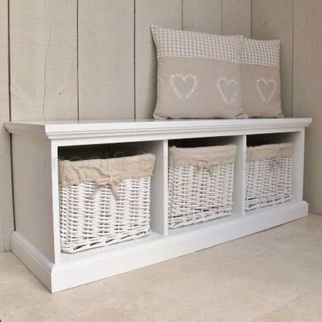 white storage bench with chusion