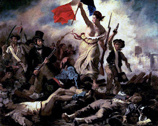 Eugène Delacroix's Liberty Leading the People painting, created in 1830. It depicts Marianne and Second French Revolution.