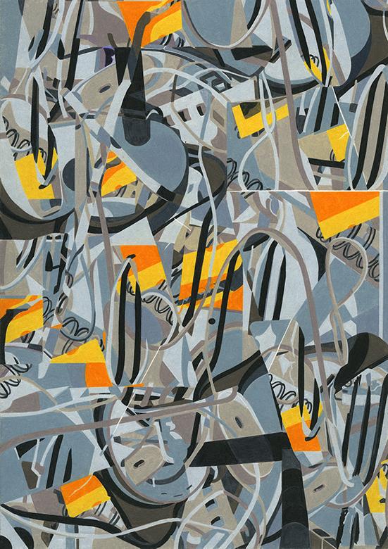 Stephan van den Burg Untitled (borrowed settings #2), 2020 colored pencil on paper 29.7 x 21 cm