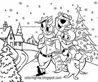 NP Yellowstone landscape snow picture carol singers Christmas coloring yogi bear cartoon characters