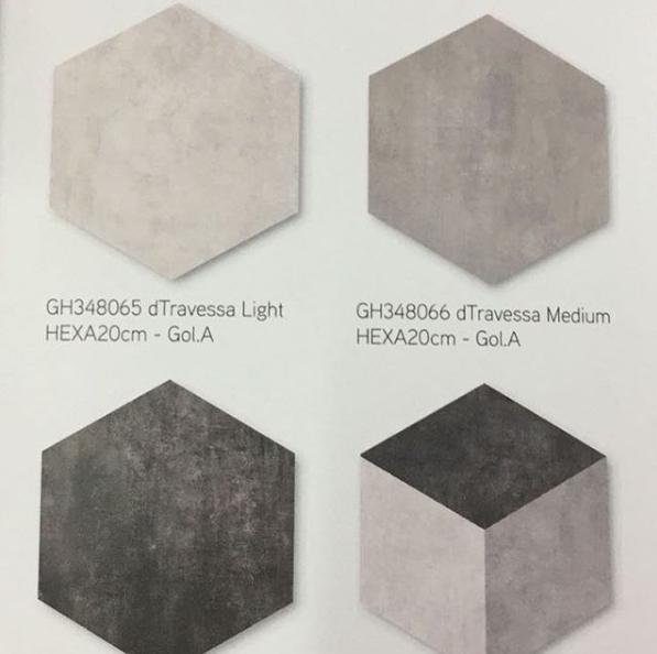 Contoh Pemasangan Keramik Roman Hexagonal