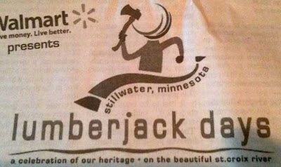 Lumberjack Days logo on newsprint, next to the Walmart logo