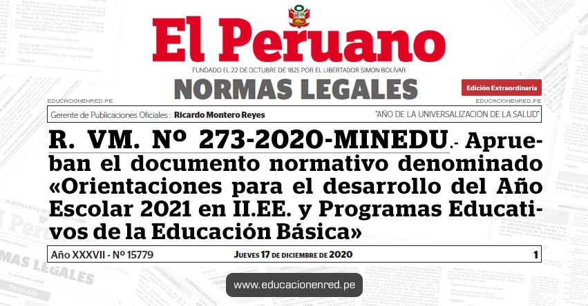 R. VM. Nº 273-2020-MINEDU.- Aprueban el documento normativo denominado «Orientaciones para el desarrollo del Año Escolar 2021 en Instituciones Educativas y Programas Educativos de la Educación Básica»
