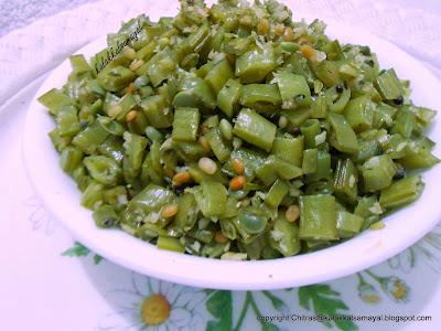Kothavarangai Poriyal [ Cluster Beans stir fry ]