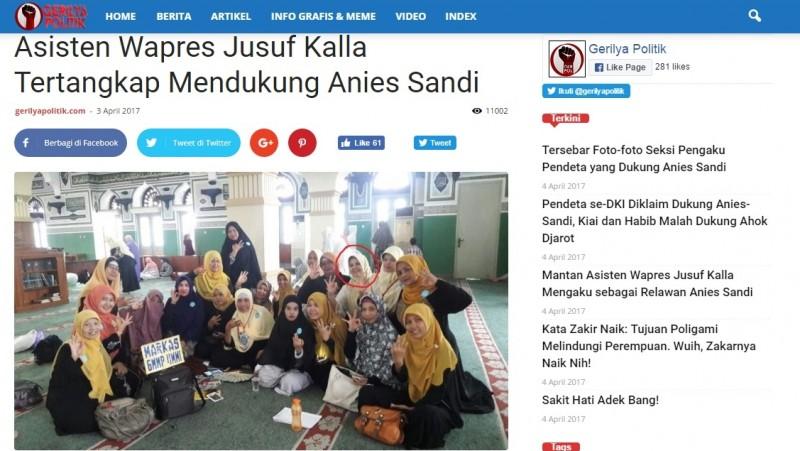 Asisten Wapres JK disebut dukung Anies-Sandiaga